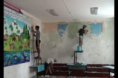 Более 500 килограммов краски — на окна и полы: обновляют Шаблиевскую школу