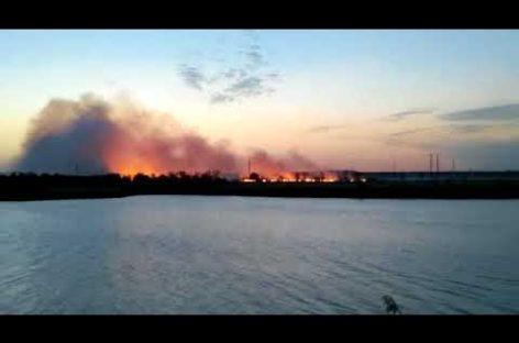 Огонь шёл сплошным фронтом на сальскую заправку