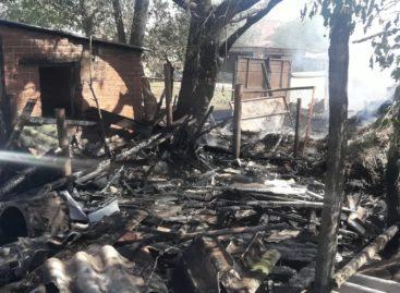 В Сальском районе, в садовом товариществе, сгорел дачный домик