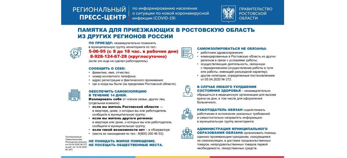 Памятка для приезжающих в Ростовскую область из других регионов России