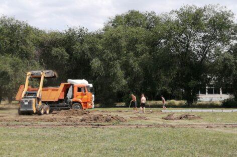 В Ивановке начали строить спортплощадку